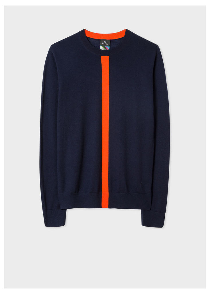 Men's Navy Wool Sweater with Orange Stripe