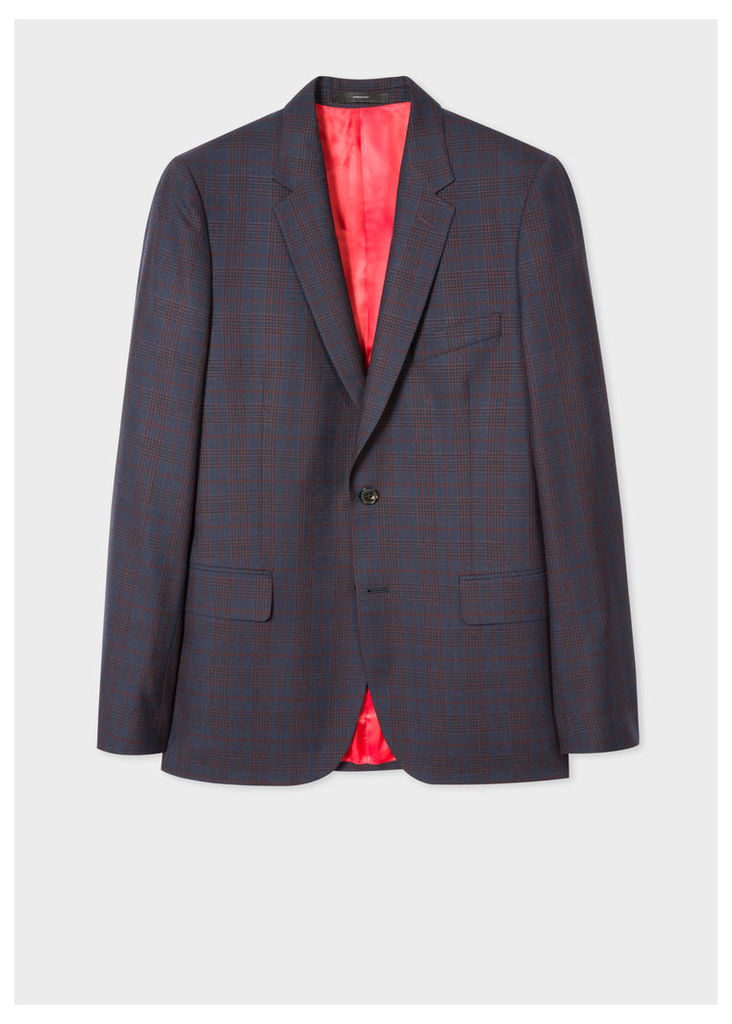 Men's Tailored-Fit Navy And Red Check Wool Blazer