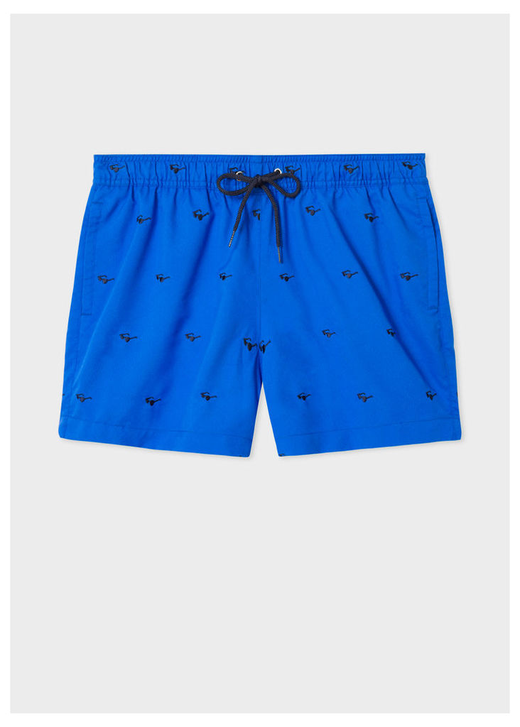 Men's Blue Swim Shorts With 'Sunglasses' Embroidery