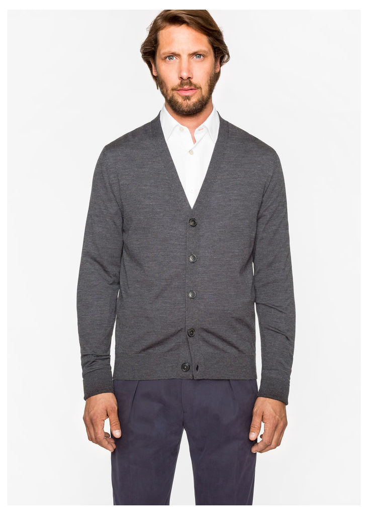 Men's Grey Merino Wool Cardigan