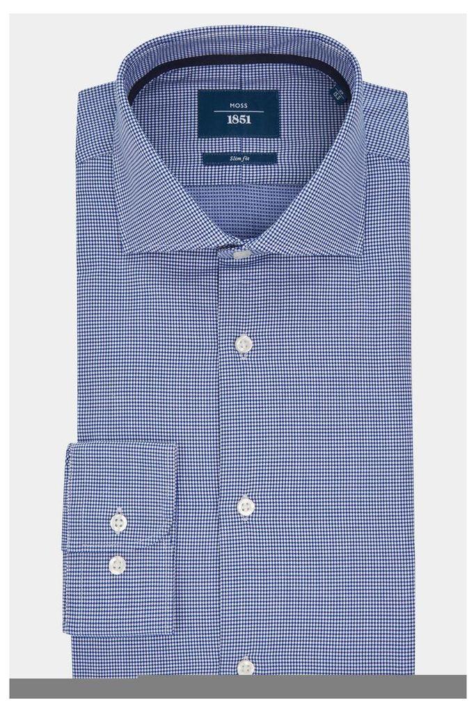 Moss 1851 Slim Fit Navy Single Cuff Textured Shirt
