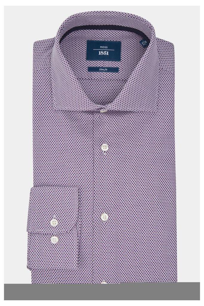 Moss 1851 Slim Fit Purple Single Cuff Textured Shirt