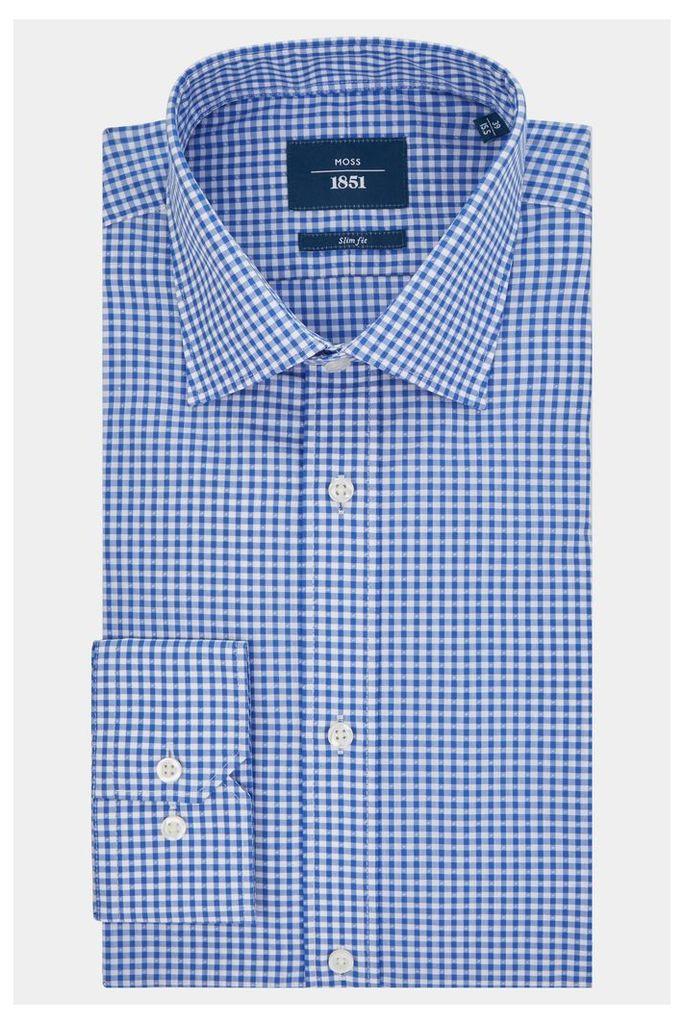 Moss 1851 Slim Fit Blue Single Cuff Check Shirt