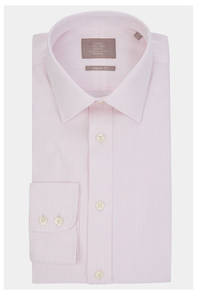 Savoy Taylors Guild Regular Fit Pink Single Cuff Herringbone Stripe Shirt