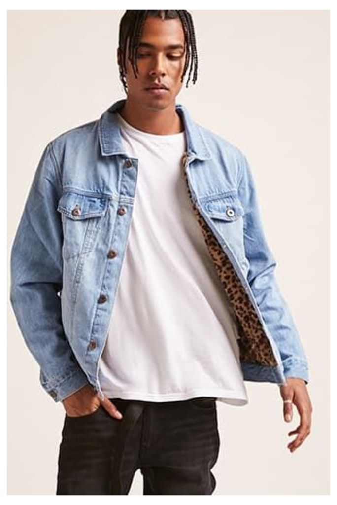 Leopard-Lined Denim Jacket