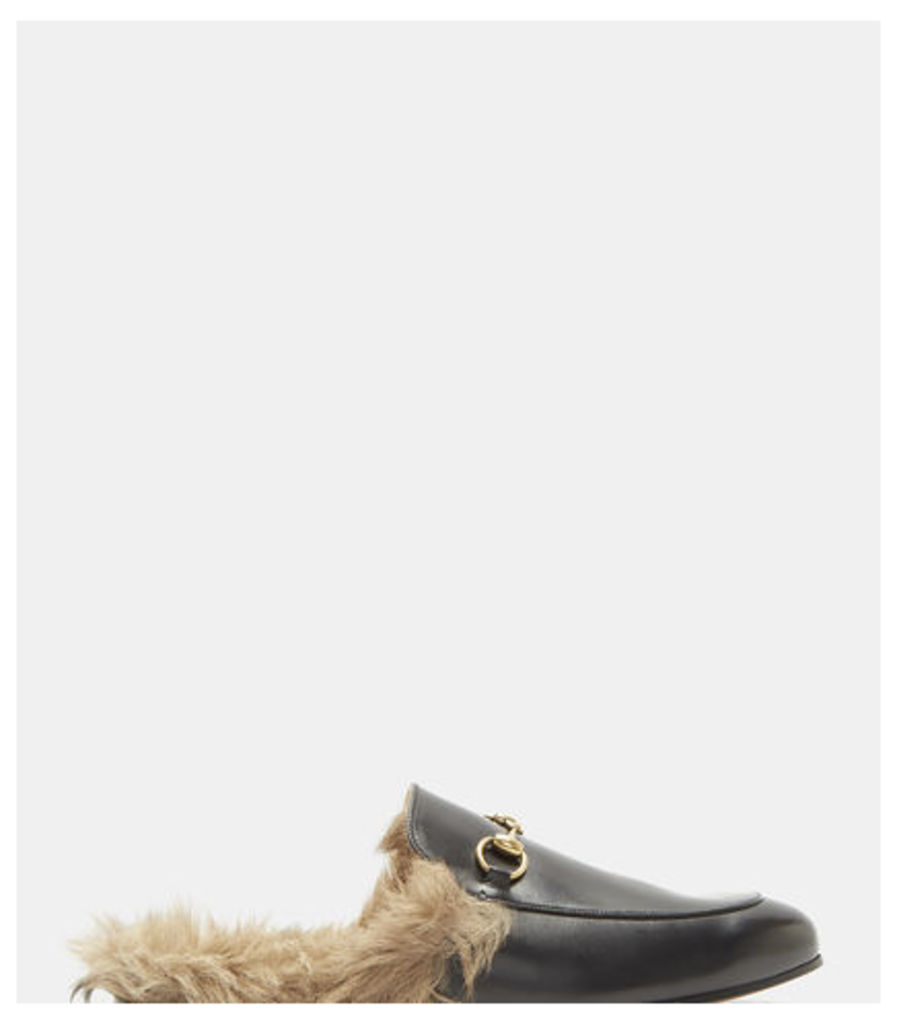 Princetown Lamb Fur Trimmed Slipper Shoes