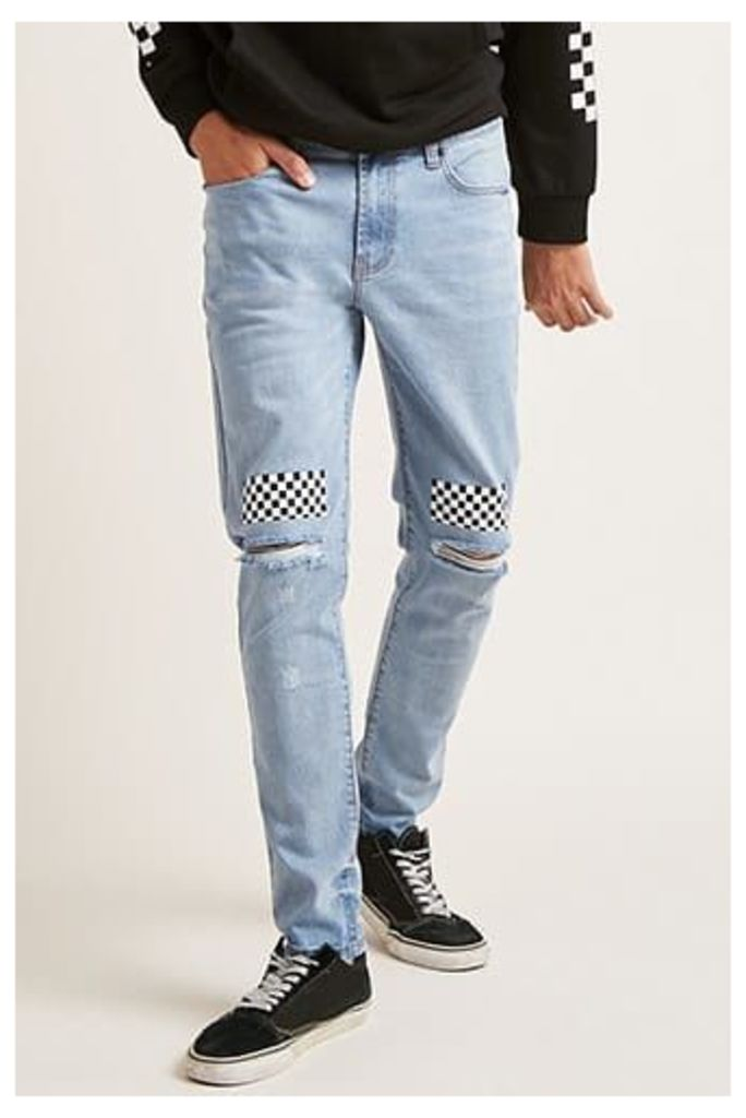 Checkered Distressed Skinny Jeans