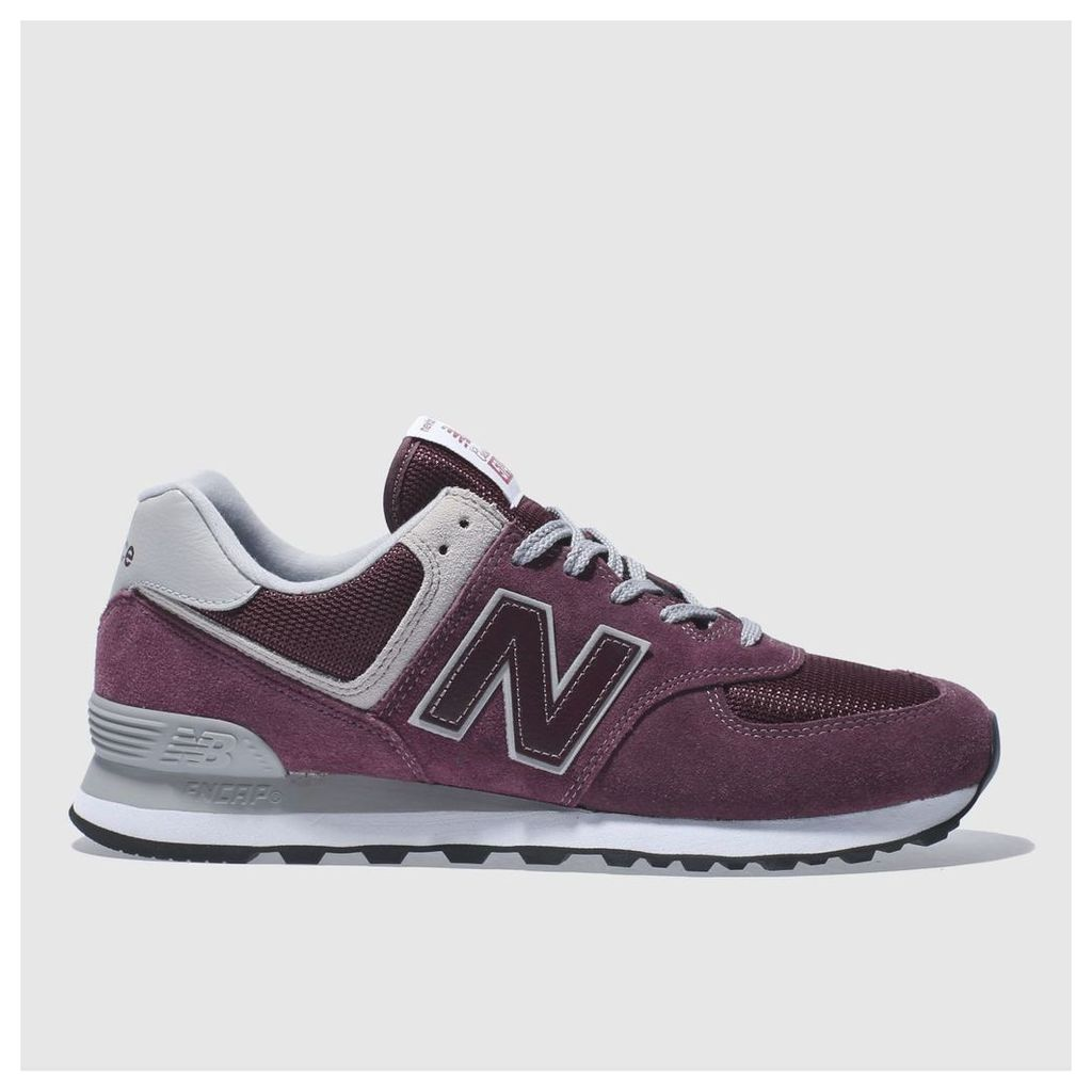new balance burgundy 574 trainers