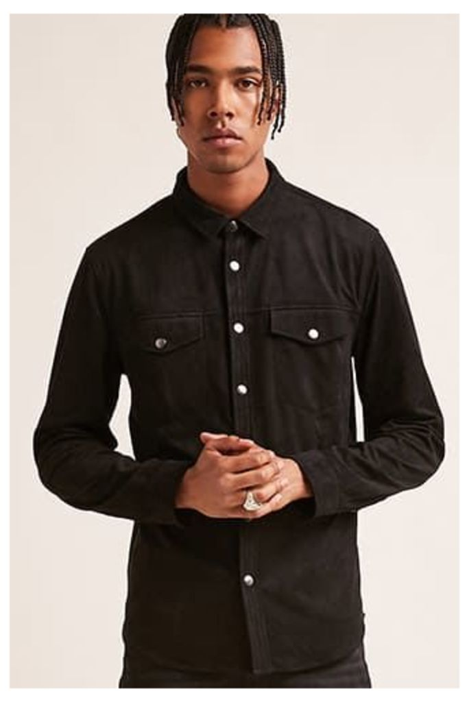 Faux Suede Button-Down Shirt