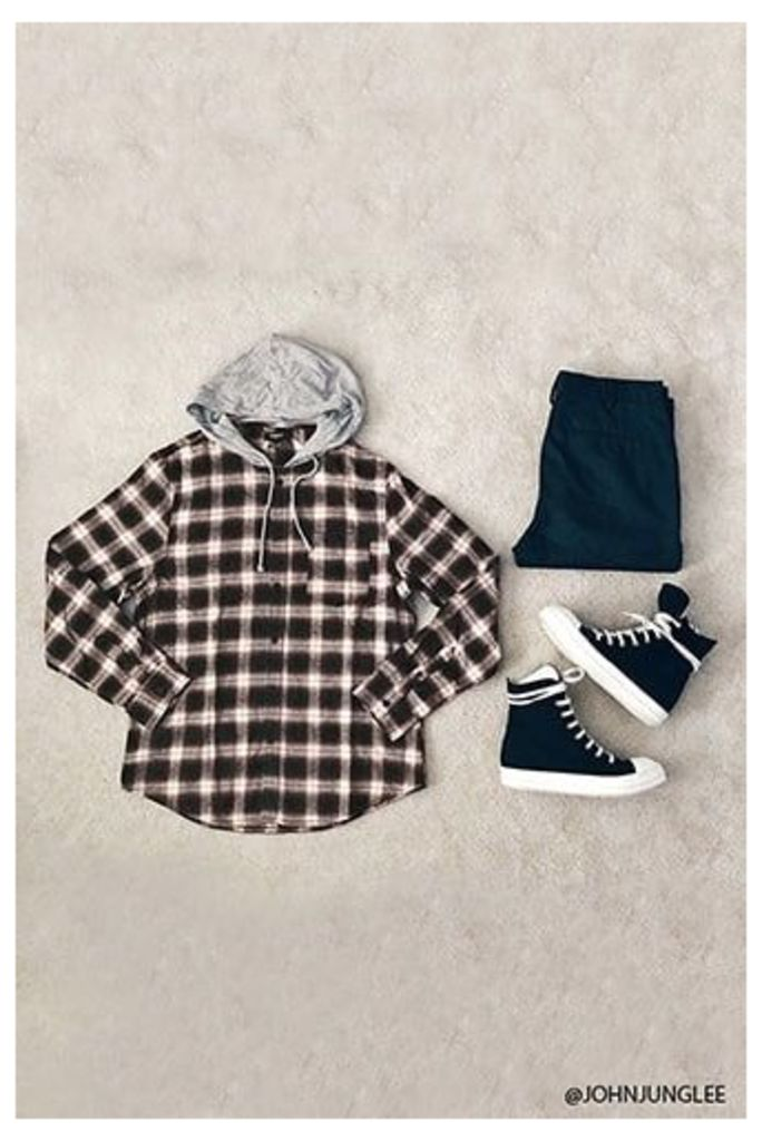 Check Flannel Combo Hoodie