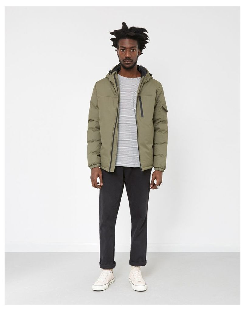 The Idle Man Panelled Puffer Jacket Green