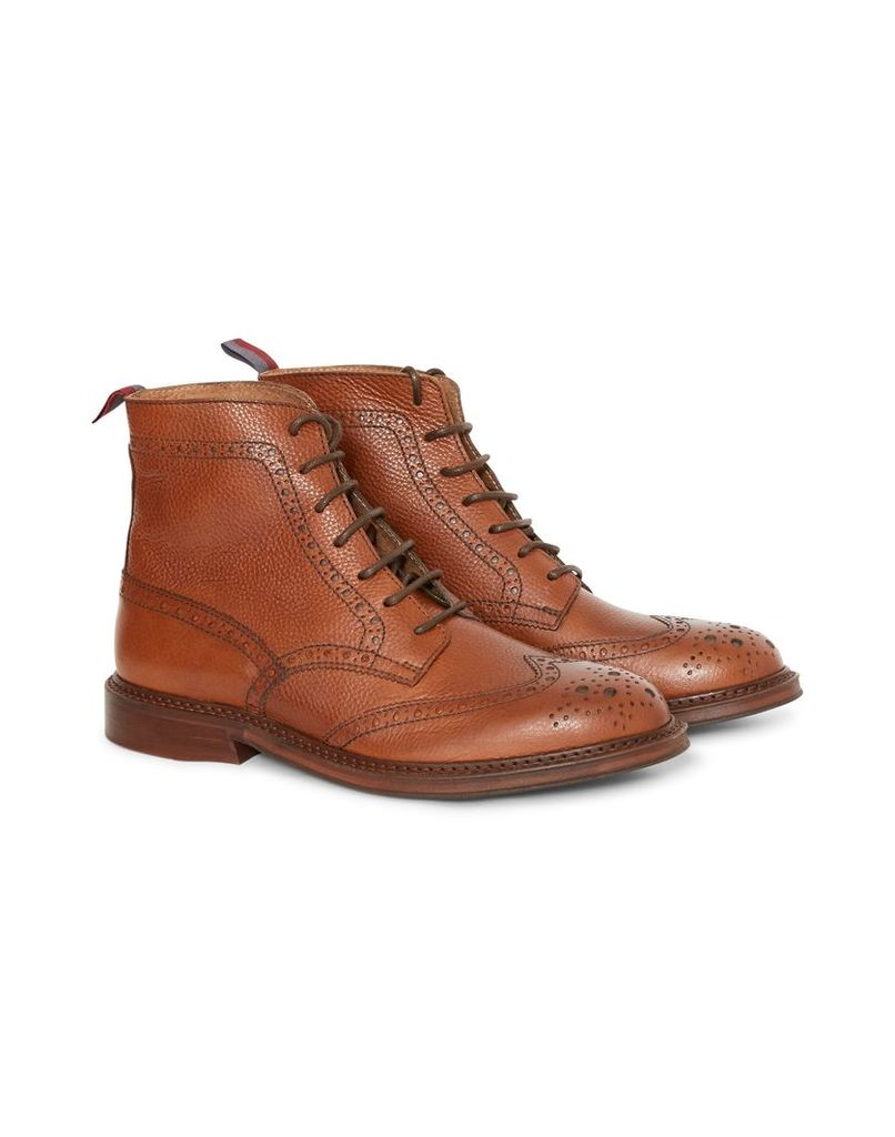 The Idle Man Leather Brogue Boot Tan