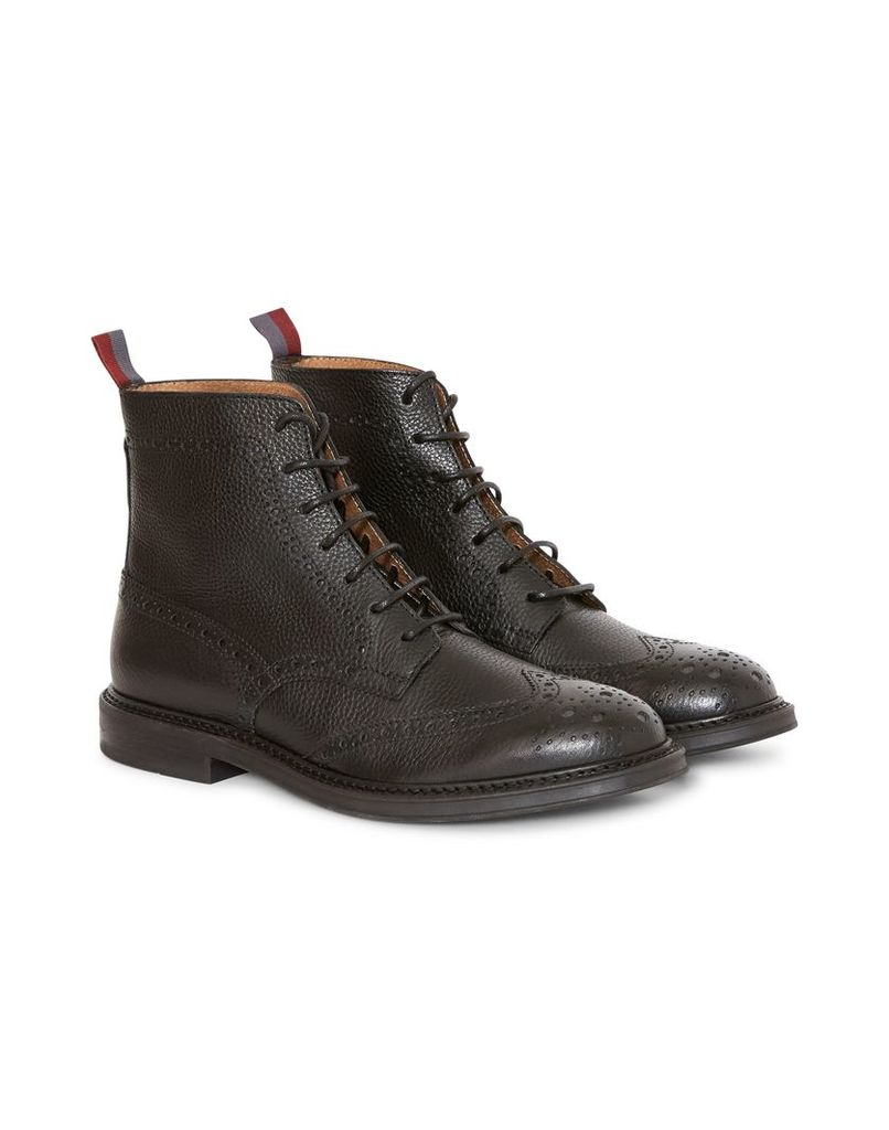 The Idle Man Leather Brogue Boot Black
