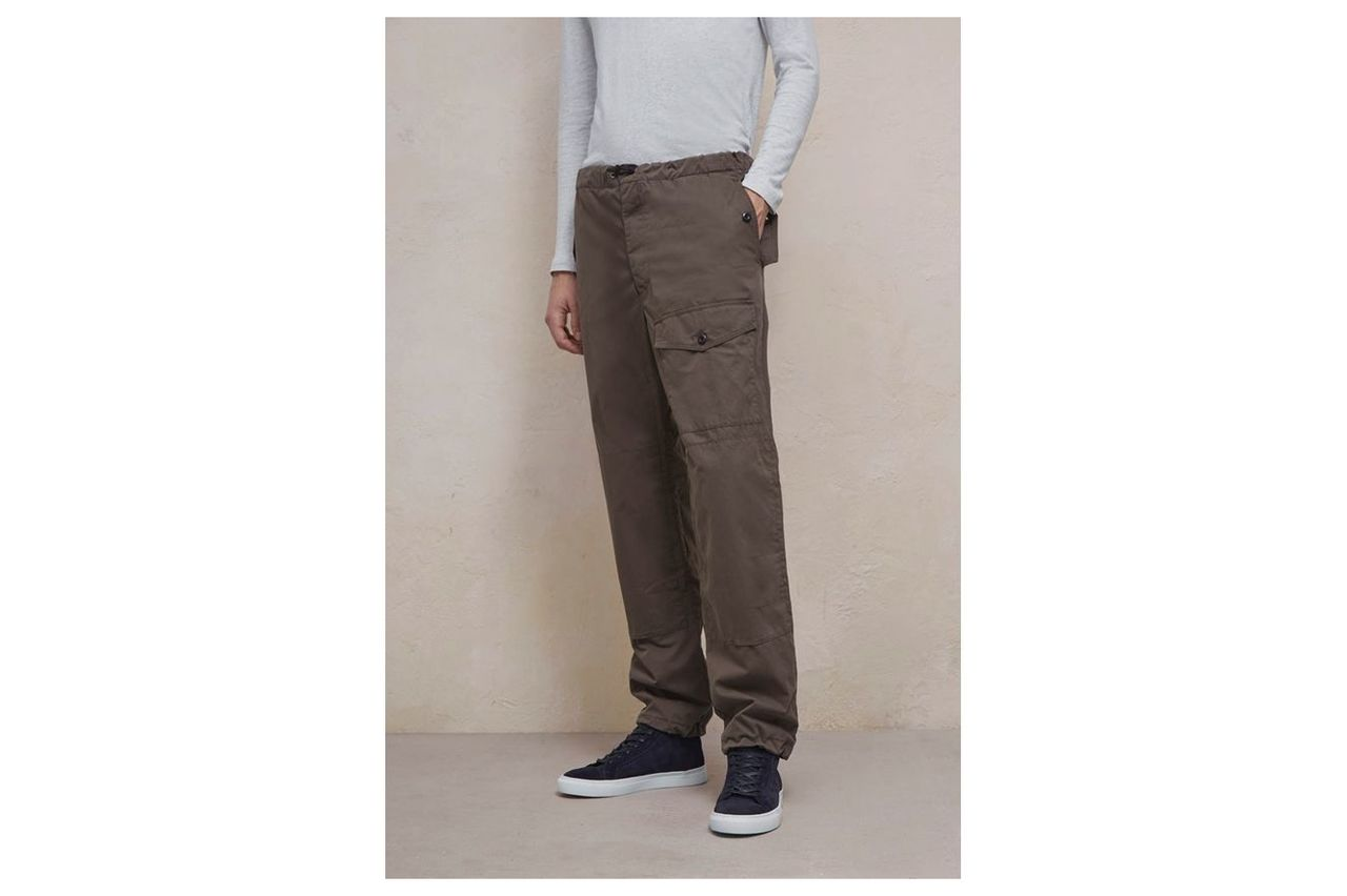 Pigment Peached Cotton Loose Trousers - black olive