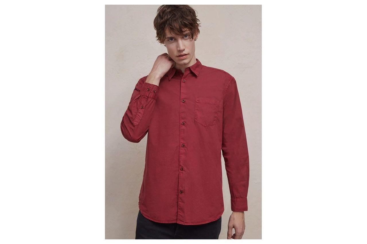 Garment Dye Poplin Shirt - merlot