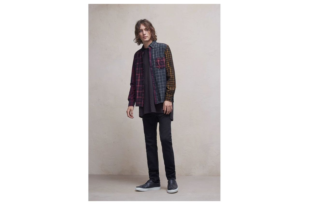 Patchwork Corduroy Multi Checked Shirt - patchwork