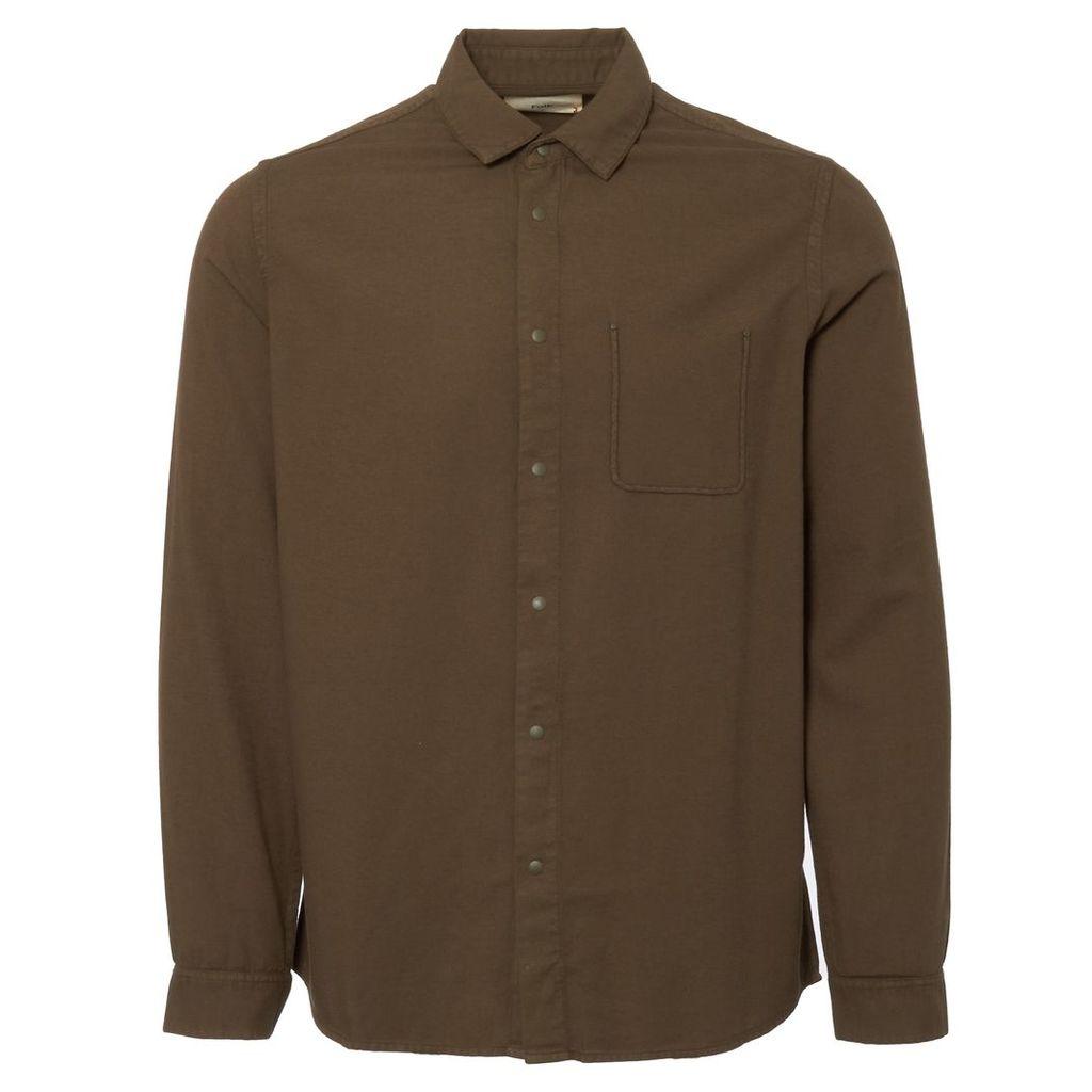 Military Green Flannel Pop Stud Shirt