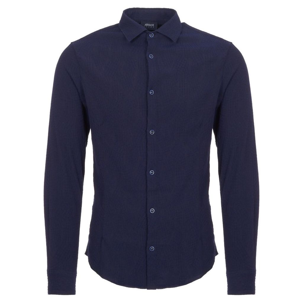 Fantasia Blue Camicia Cross Hatch Pattern Shirt