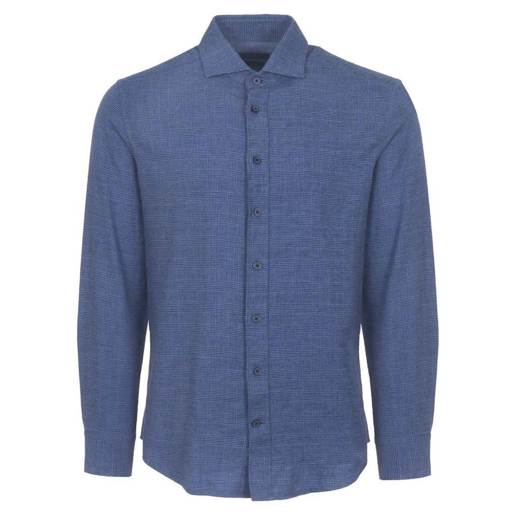 Blue Prince of Wales Flannel Shirt