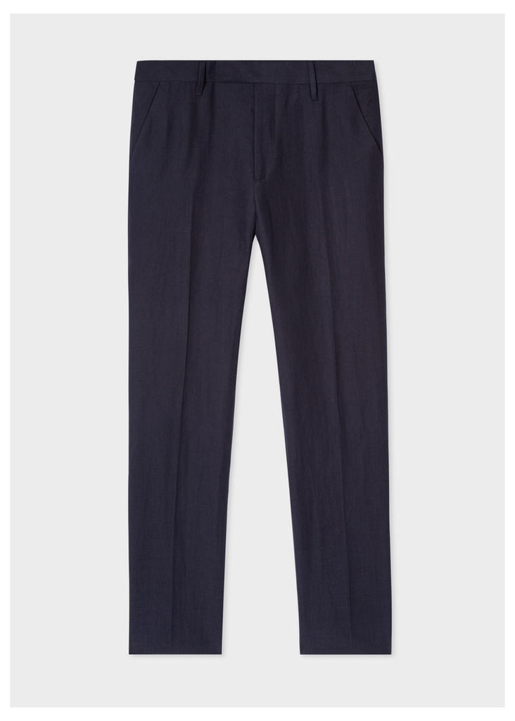 Men's Slim-Fit Dark Navy Linen Trousers