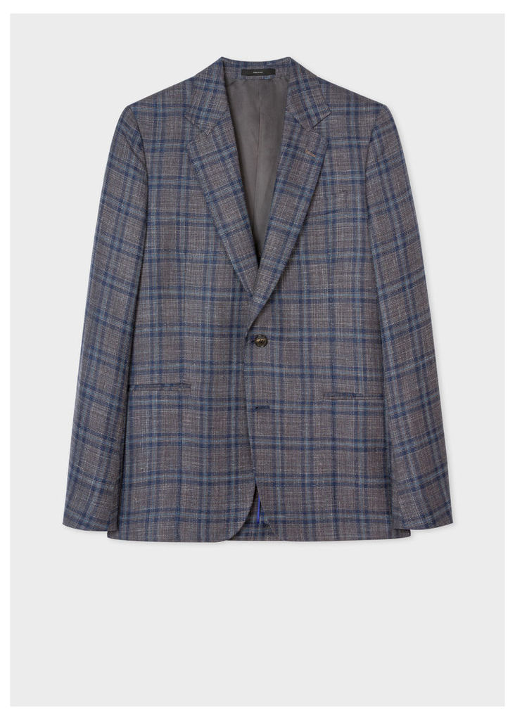 Men's Tailored-Fit Navy Check Wool-Silk Blazer