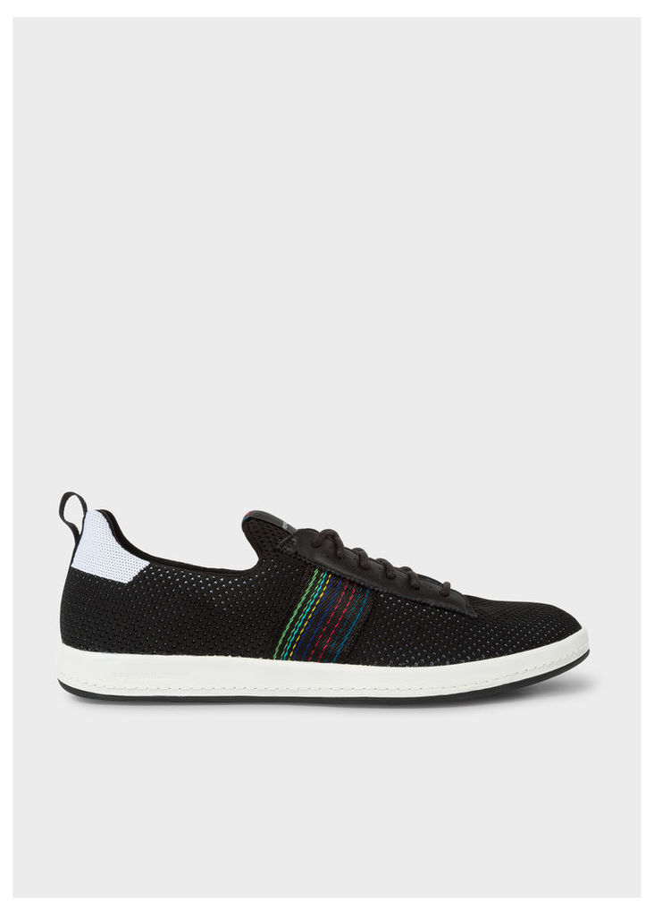 Men's Black 'Rabknit' Knitted Trainers With Striped Webbing