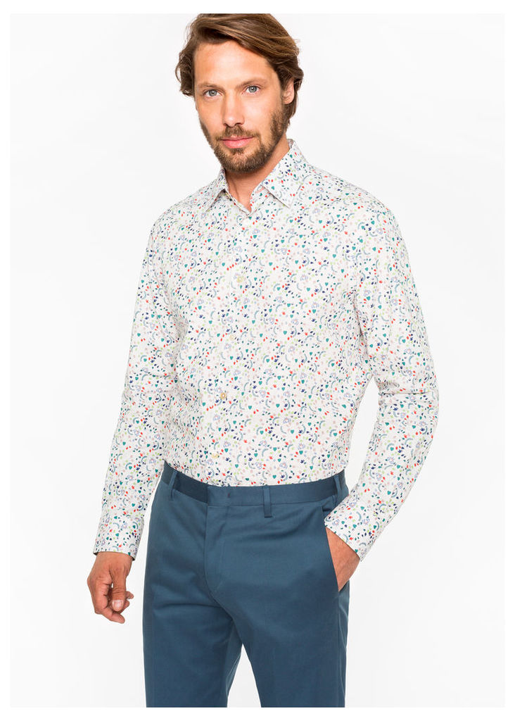 Men's Tailored-Fit 'Floral Heart' Print Cotton 'Artist Stripe' Cuff Shirt