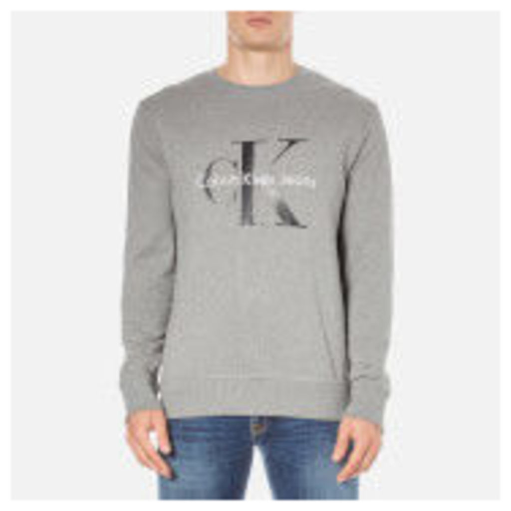 Calvin Klein Men's Crew Neck Sweatshirt - Mid Grey Heather - S - Grey