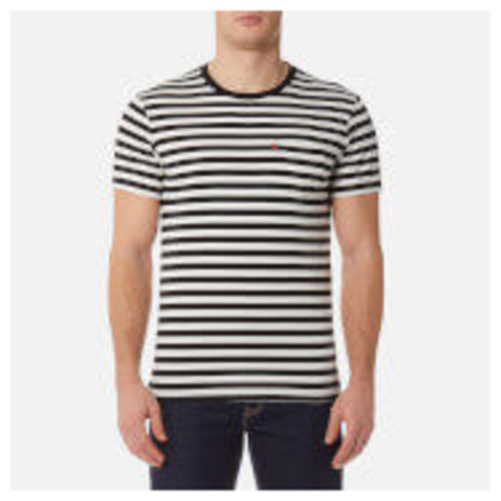 Levi's Men's Short Sleeve Set-In Sunset Pocket Shirt - Cooler Stripe Black/Marshmallow - S - Black
