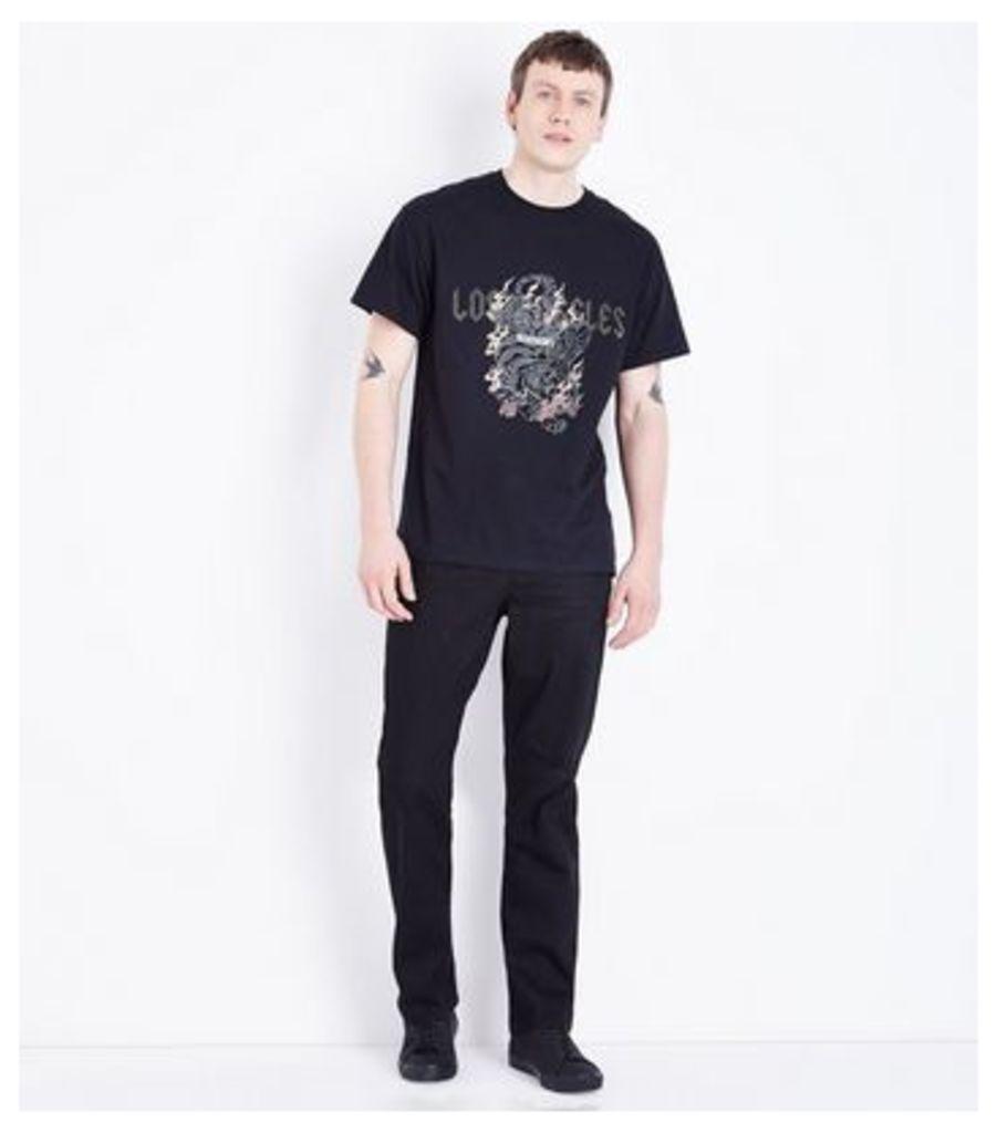 Black Los Angeles Studded Slogan T-Shirt New Look