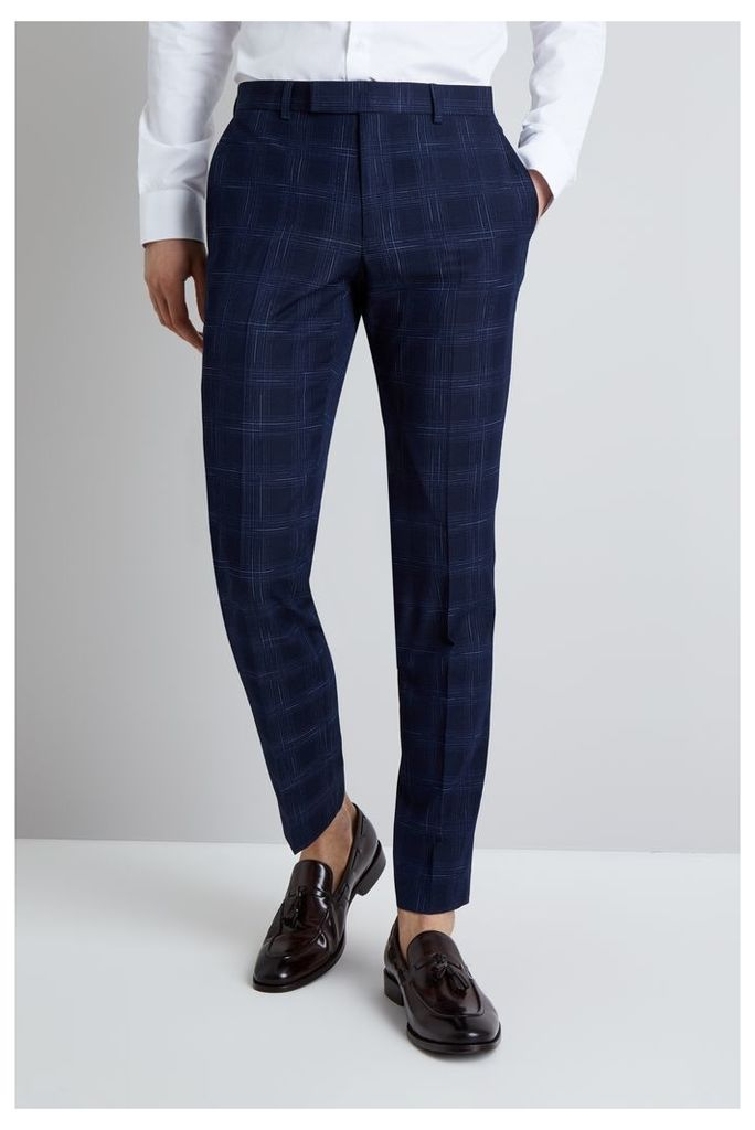 Moss London Skinny Fit Navy Ice Check Trousers