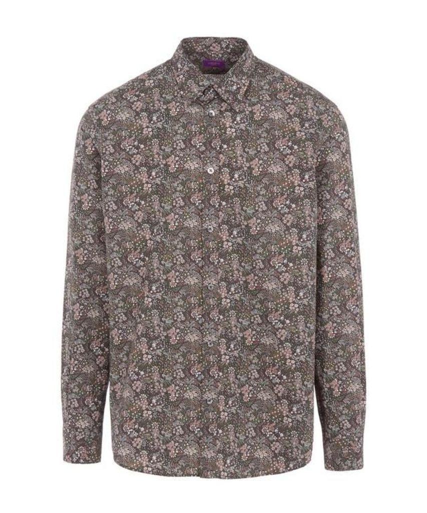 Elderberry Print Poplin Cotton Shirt