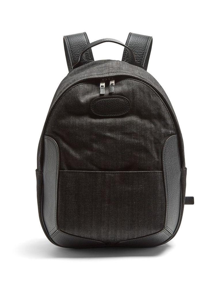 Leather-trimmed denim backpack