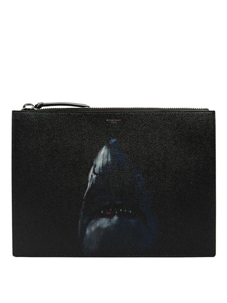 Shark-print leather document holder