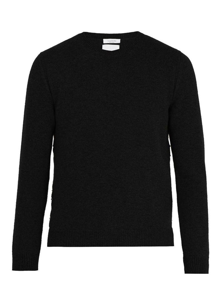 Rockstud-embellished cashmere sweater
