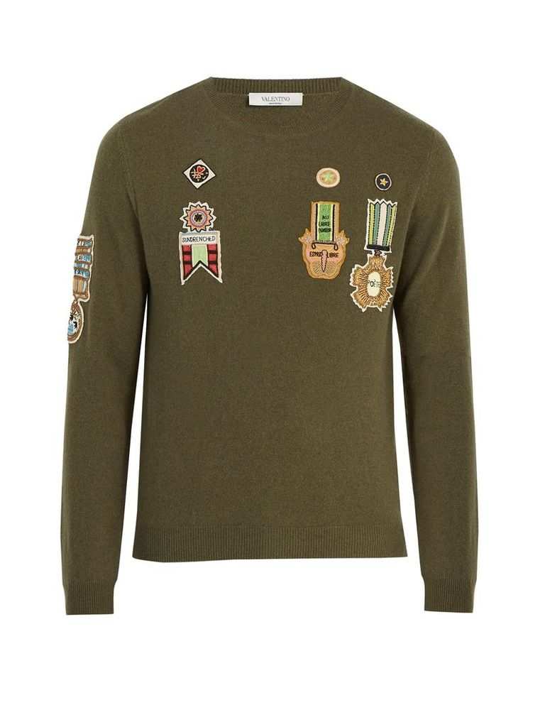 Embroidered-appliqué wool-blend sweater