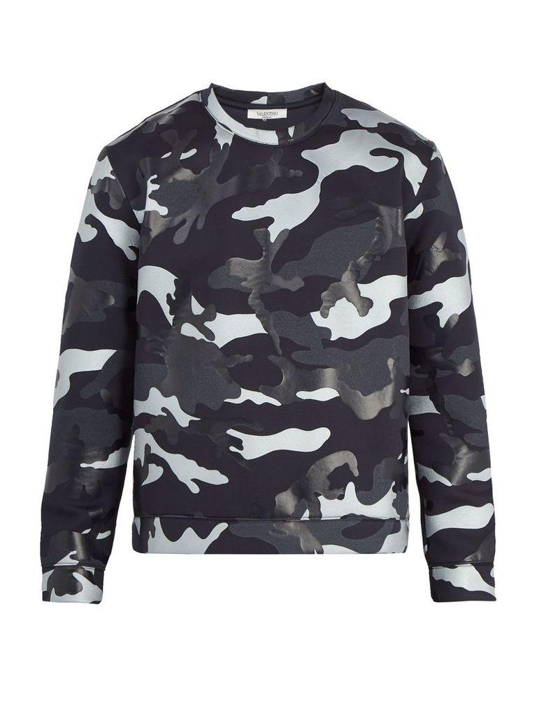 Camouflage-print jersey sweatshirt