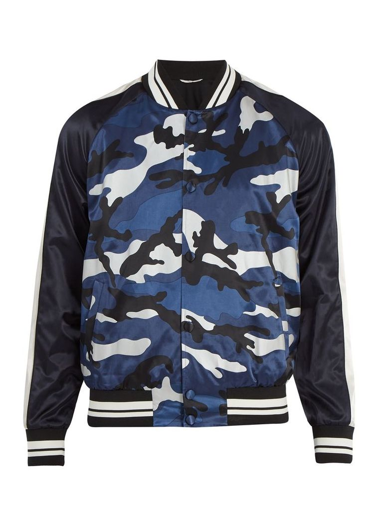 Camouflage-printed satin bomber jacket