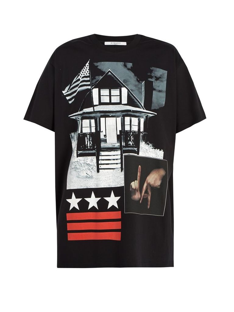 Graphic-print cotton-jersey T-shirt