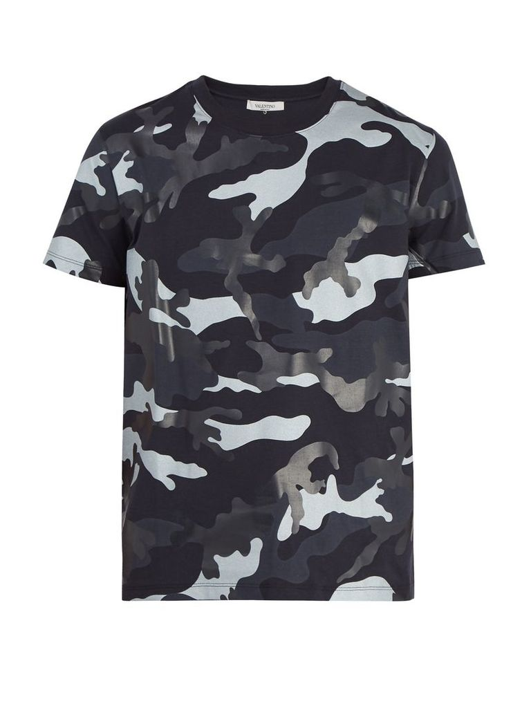 Camouflage-print cotton-jersey T-shirt