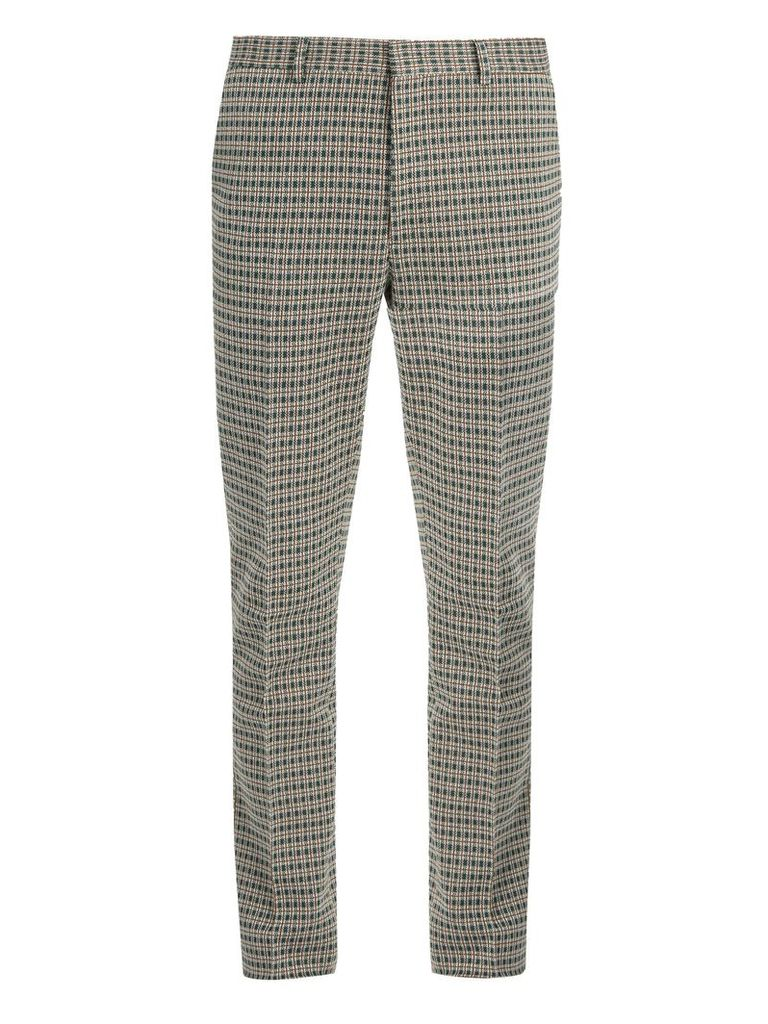 Slim-fit tartan-checked cotton-blend trousers