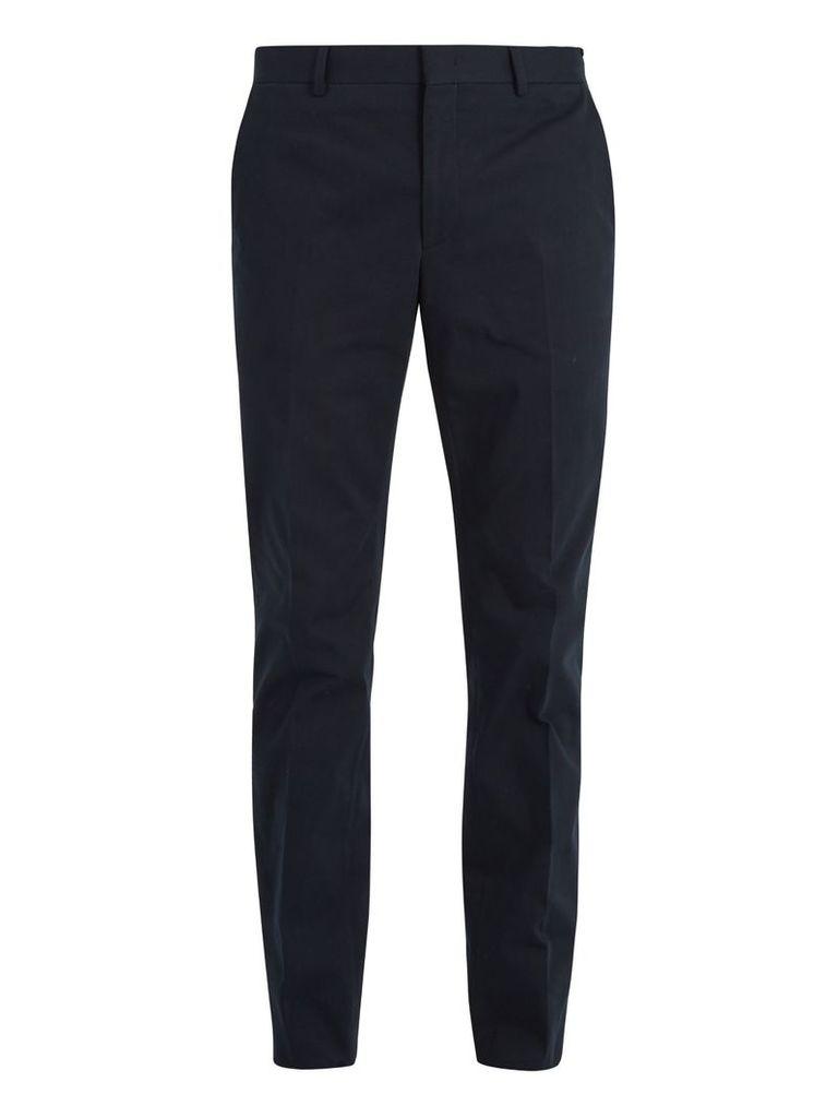 Slim-leg cotton-blend twill chino trousers