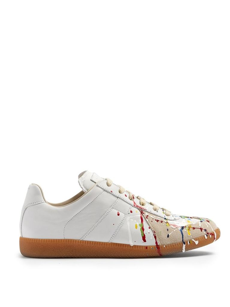 Replica low-top paint-effect leather trainers