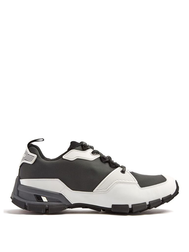Low-top rubber-panelled mesh trainers