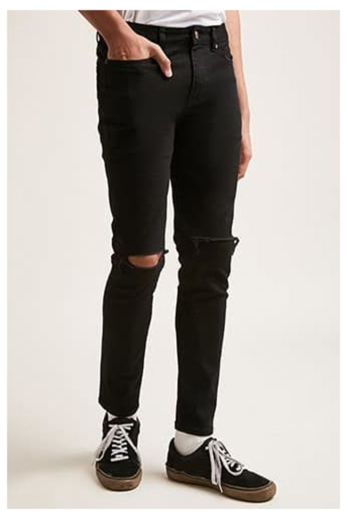 Ripped-Knee Skinny Jeans
