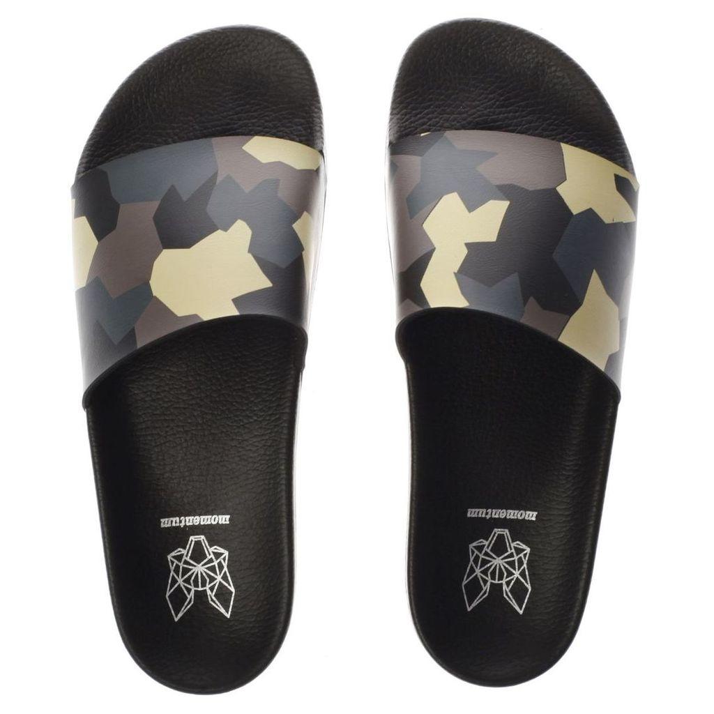 momentum black & green sol slide print sandals