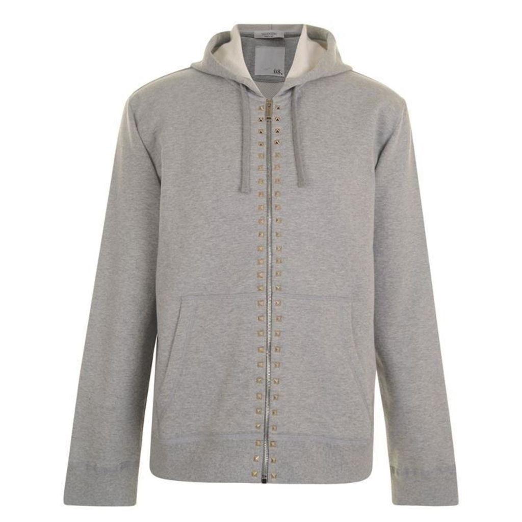 VALENTINO Rockstud Zip Hooded Sweatshirt
