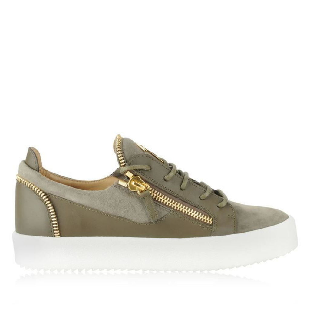 GIUSEPPE ZANOTTI Suede And Leather May Zip Trainers