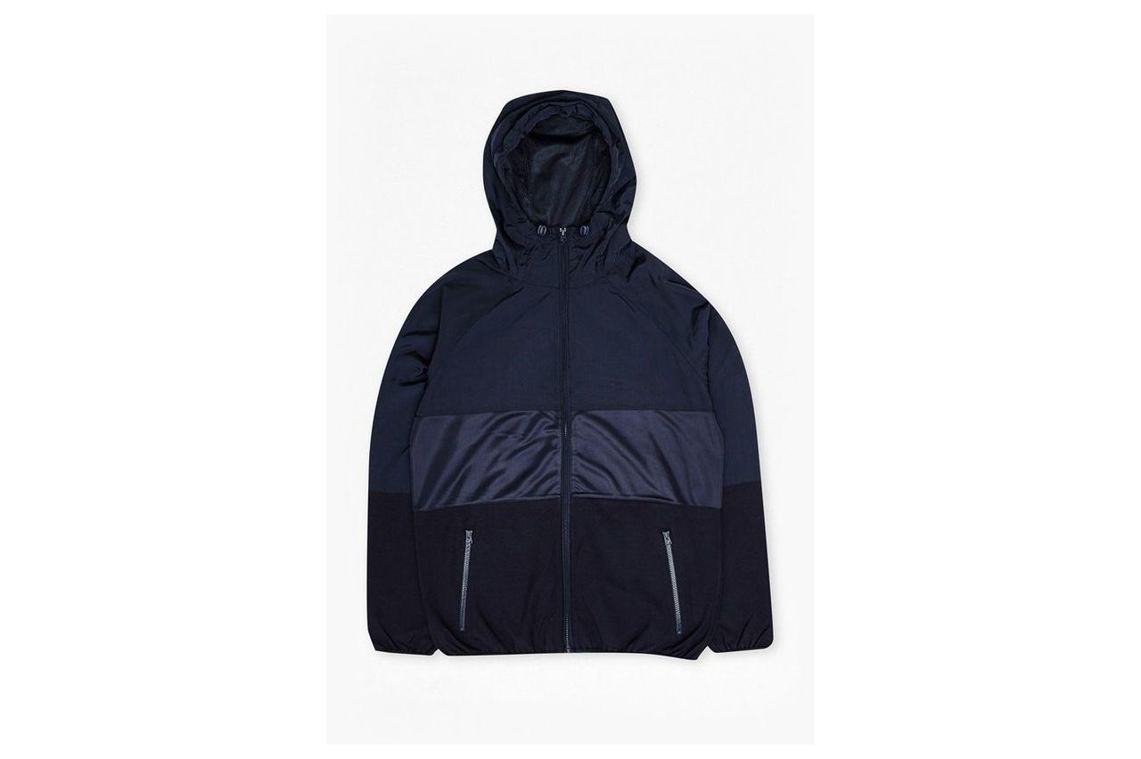 Mixed Nylon Run Hooded Jacket - marine blue