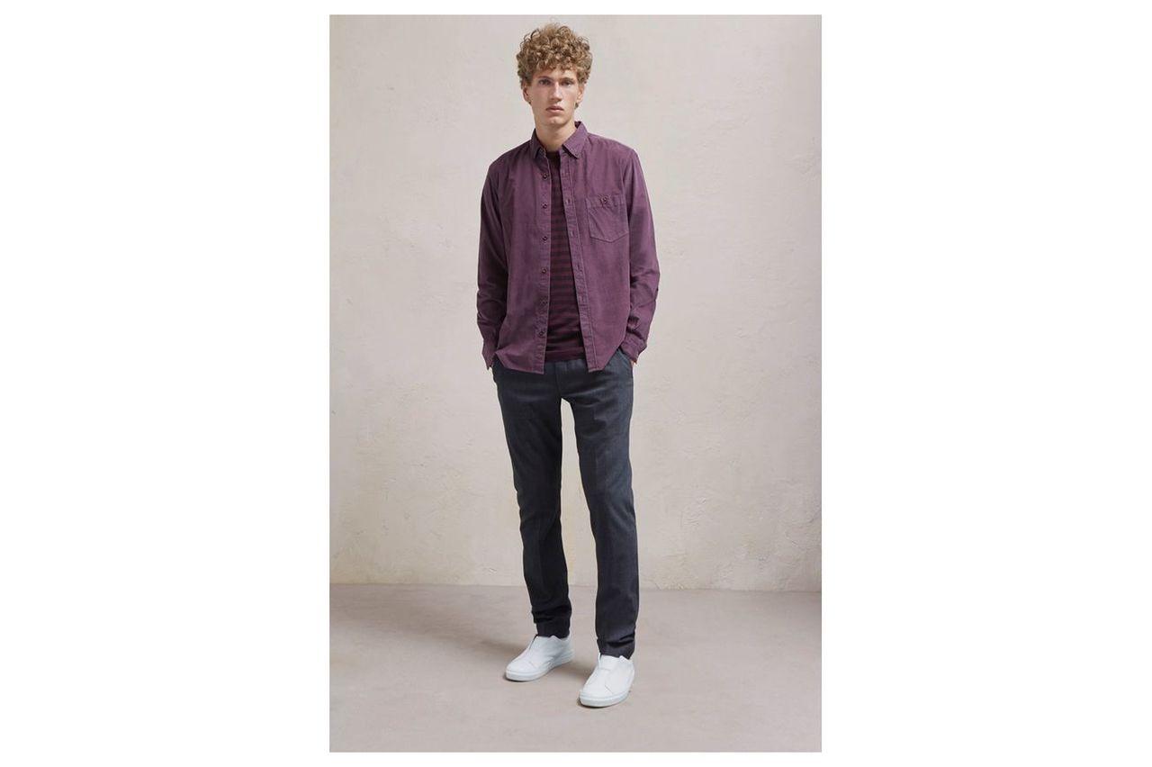 28 Wales Long Sleeved Corduroy Shirt - bordeaux